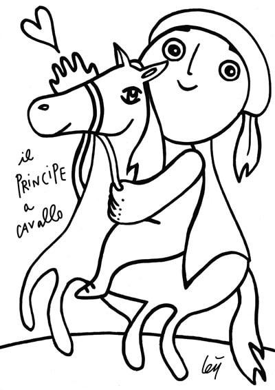Colora il disegno del principe a cavallo for Disegni di lupi da stampare