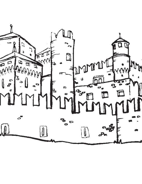 Disegno da colorare il castello della valle d 39 aosta for Disegni casa castello