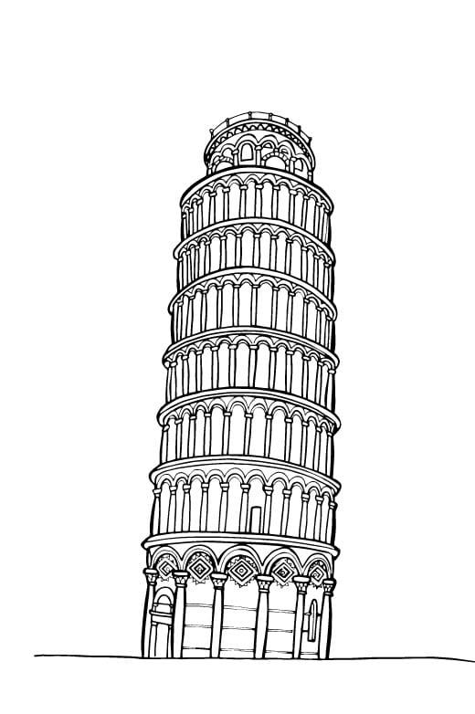 Disegno da colorare torre di pisa for Disegni della roma da colorare