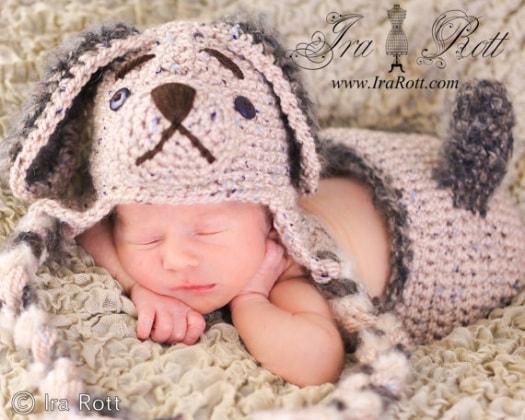 crochet_puppy_dog_hat_set