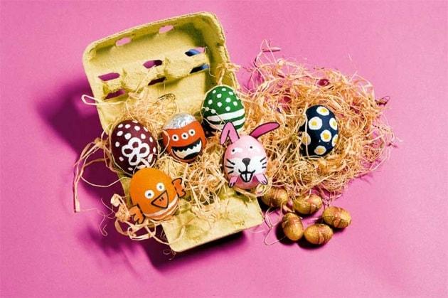 Lavoretto per bambini uova pasquali decorate - Uova decorate per bambini ...