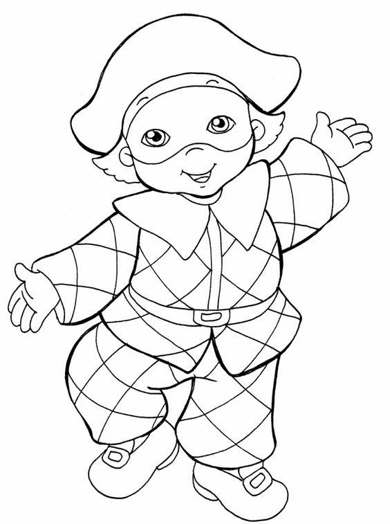 Disegni da colorare tante sagome da scaricare e colorare for Maschere di carnevale tradizionali da colorare per bambini da stampare