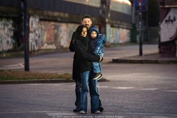 Francesca fedeli e Roberto D'Angelo con il piccolo Mario