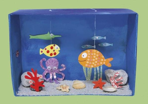 Lavoretto per bambini un acquario tropicale fai da te for Filtro acquario fai da te