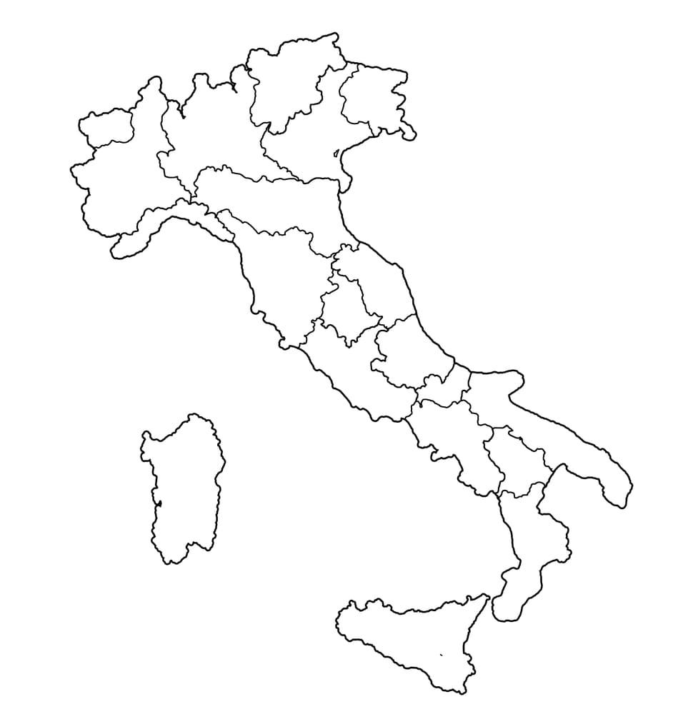 Cartina Dell Italia Divisa Per Regioni.La Cartina Dell Italia Con Regioni Da Stampare E Colorare