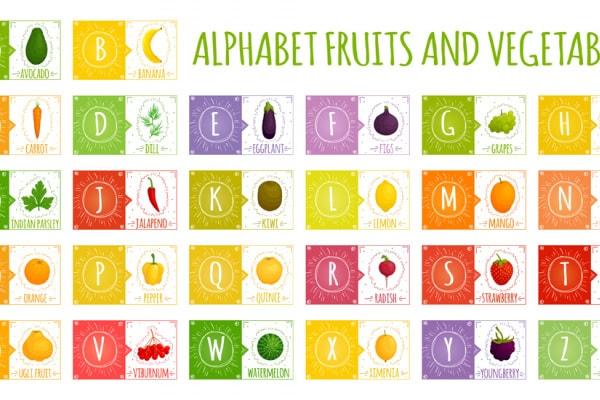 Imparare l'alfabeto inglese con frutta e verdura